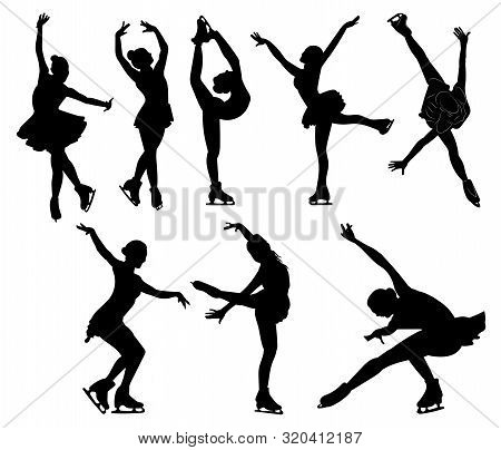 Set Of Figure Skating. Collection Of Girls Figure Skating. Black White Illustration. Winter Sport. I