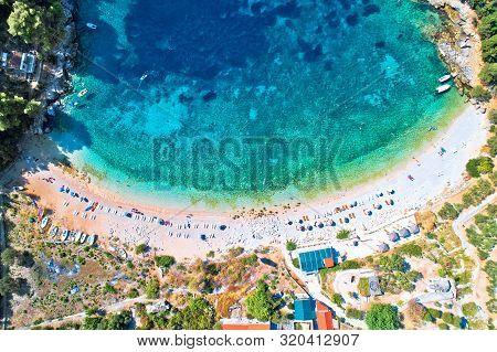 Aerial View Of Korcula Island Beach In Pupnatska Luka Cove, Southern Dalmatia Archipelago Of Croatia