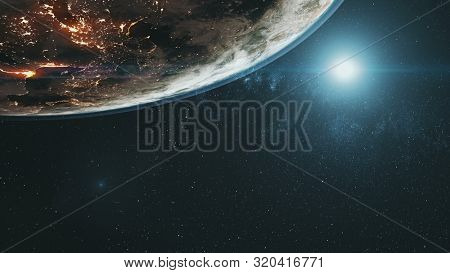 Illuminated planet Earth continents with white halo in outer space against bright colour Sun. 3d render animation. Science and technology concept. Elements of this media furnished by NASA