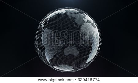 Motion Particle Earth Digital Business Concept. World Map Landscape Future Technology Global Connection Celestial Object. Scientific Approach Grid Lines Deep Outer Space Exploration 3D Rendering