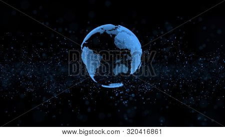 3d animation blue flashing information units create rotating modern globe model with illuminated mainlands in dark background. Motion graph. Digitized world and blue ocean strategy concept. Big data.