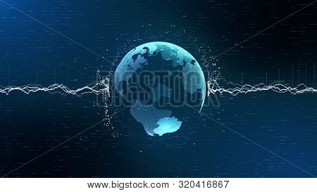 3d animation yellow information units vibrant stripes hold blue planet Earth globe model rotating in dark background. Motion graph. Digitized world and blue ocean strategy concept. Big data.