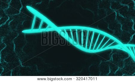 motion graphic of DNA large light blue model part moving in space and turning around in dark flashing background with thin white winding threads. 3d animation. Medicine biology science concept.