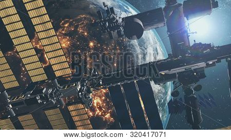 International Space Station with solar charging panels flies in outer space against starlight. 3d render animation. Science and technology concept. Elements of this media furnished by NASA