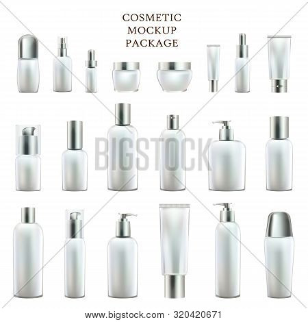 Cosmetic Mockup Package. Containers For Body And Face Skin Care Beauty Products. Cream Jars, Tonic T