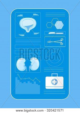 App Concept Vector Of Cystitis, Urolithiasis, Nephroptosis, Renal Failure.