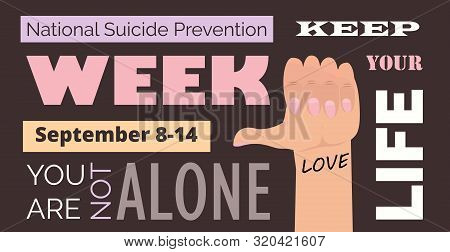 National Suicide Prevention Week In Usa. Event Is Celebrated In September 8-14.
