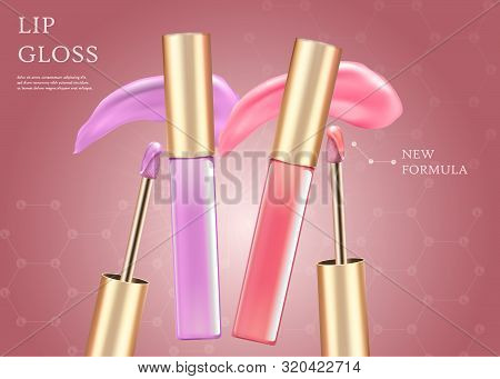 Lip Gloss, New Formula Horizontal Banner With Copy Space. Glamorous Set Of Tubes With Pink And Purpl