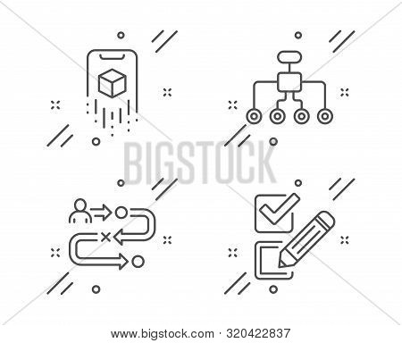 Augmented Reality, Journey Path And Restructuring Line Icons Set. Checkbox Sign. Phone Simulation, P