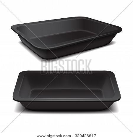 Black Styrofoam Food Storage. Food Plastic Tray, Dark Foam Meal Container, Empty Box For Food Vector