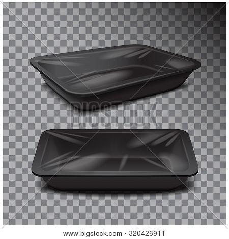 Styrofoam Food Storage. Black Food Plastic Tray, Dark Foam Meal Container On Transparent Background
