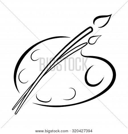Art Palette With Paints. Stylized Palette. Logo Palette With Paints. Palette For The Artist. Vector
