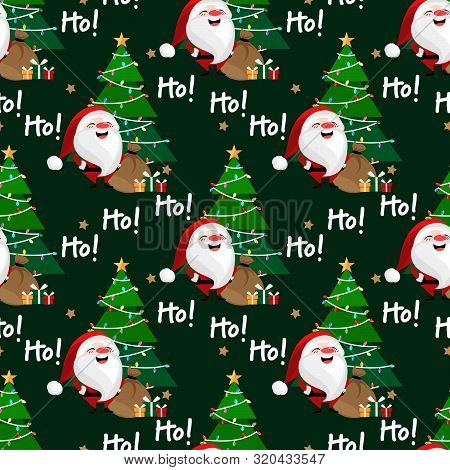 Santa Claus With Christmas Tree And Gift Box Seamless Pattern. Cute Christmas Holidays Seamless Patt