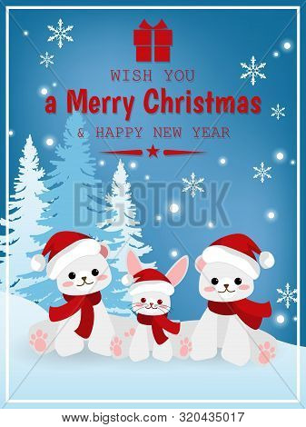Cute Bear And Rabbit In Red Scarf With Pine Trees And Wish You A Merry Christmas & Happy New Year Te