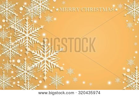 Abstract Christmas And New Years Background With White Snowflakes, Circle Shape And Merry Christmas