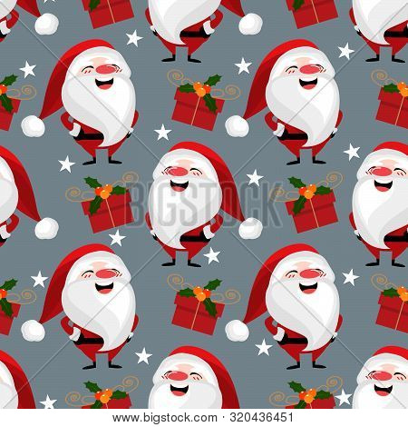 Christmas Holiday Season Seamless Pattern Of Santa Claus With Gift Box And Star. Cute Christmas Holi