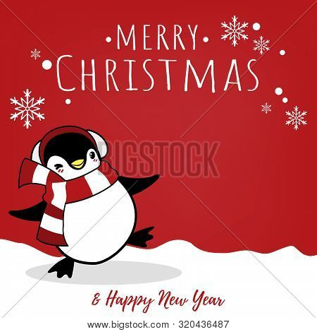 Christmas Holiday Season Background With Cute Cartoon Penguins In Winter Custom On Snow Hill And Mer