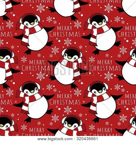 Christmas Holiday Season Seamless Pattern Of Cute Cartoon Penguins In Winter Custom And Merry Christ