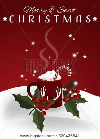 Christmas Holiday Season Background With Red Mug Of Hot Chocolate With Marshmallow And Candy Canes N