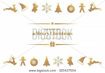 Christmas Holiday Season Background Of Golden Ornament Icons Elements And We Wish You Merry Christma