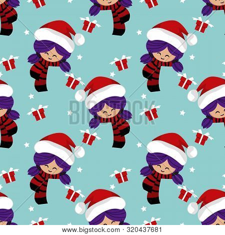 Christmas Holiday Season Seamless Pattern Of Cute Girl In Winter Custom With Gift Box And Star. Cute