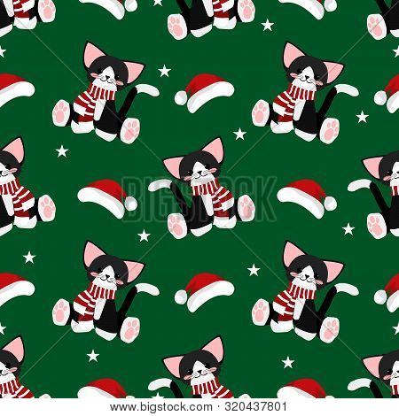 Christmas Holidays Seamless Pattern Of Cute Cat, Santa Hat And Star Seamless Pattern. Cute Christmas