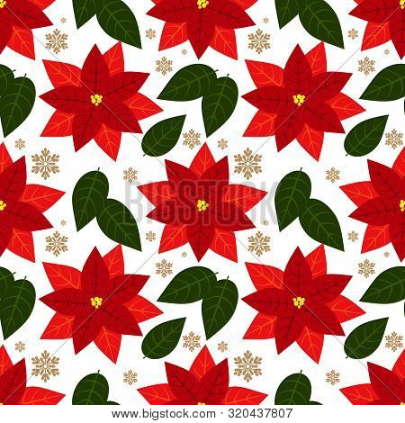 Christmas Elements Seamless Pattern Of Red Poinsettia, Christmas Flowers With Leaves And Snowflakes