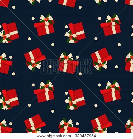 Christmas Elements Seamless Pattern Of Gift Box With Holly Berries On Ribbon And Snowflakes  For Gre