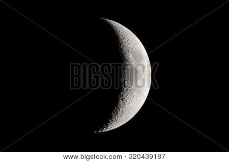 Phases Of The Moon. Waxing Crescent, Moon Background .