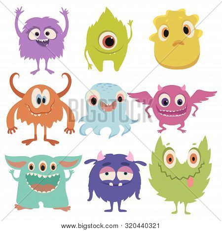 Set Of Cartoon Monsters. Collection Of Happy Monsters. Illustration For Children. Mythical Animals.