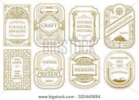 Vintage Set Retro Cards. Template Greeting Card Wedding Invitation. Line Calligraphic Frames