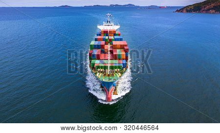 Aerial View Container Ship Carrying Container In Import Export Business Logistic And Transportation