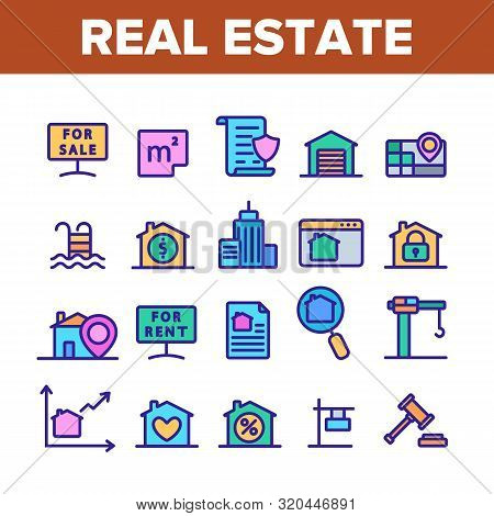 Collection Real Estate Elements Vector Icons Set Thin Line. Building And House, Map And Plan, Garage