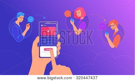 Mobile Content Sharing To Friends Concept Vector Illustration Of Young People Using Mobile Smartphon
