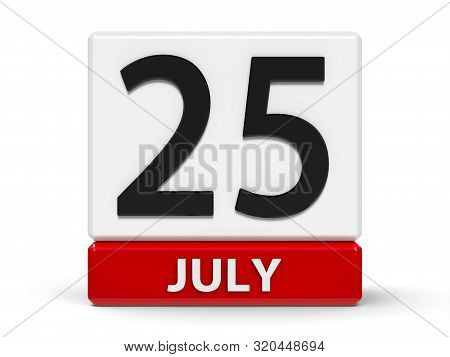 Red And White Calendar Icon From Cubes - The Twenty Fifth Of July - On A White Table, Three-dimensio