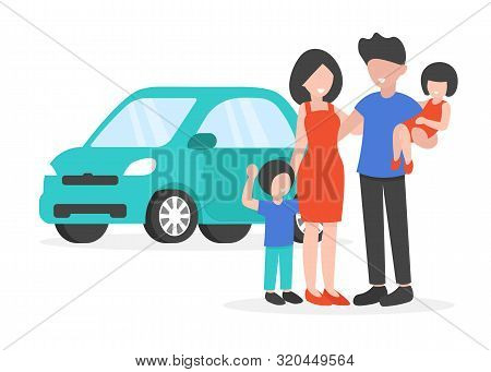 Happy Young Family Buy New Car. Flat Vector Illustration Isolated On White Background.