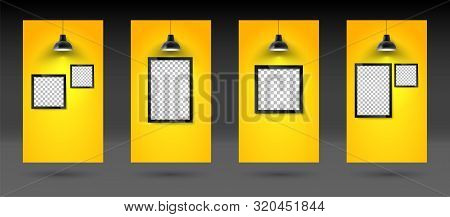 Social Stories Template. Picture Frame On Yellow Wall With Hanging Lamp. Blank Photo Frame Or Poster