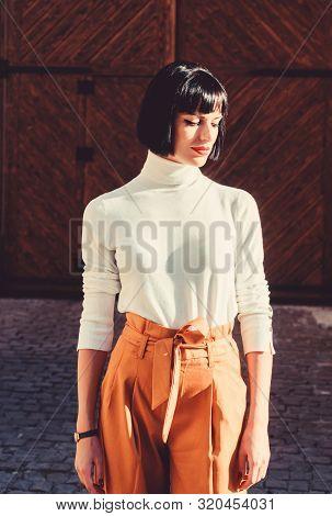 High Waisted. Femininity And Emphasize Feminine Figure. High Waisted Trousers Keep Returning To Catw