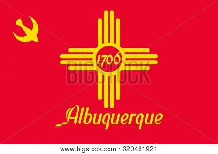 Flag Of Albuquerque Is The Most Populous City In New Mexico, United States. Vector Illustration
