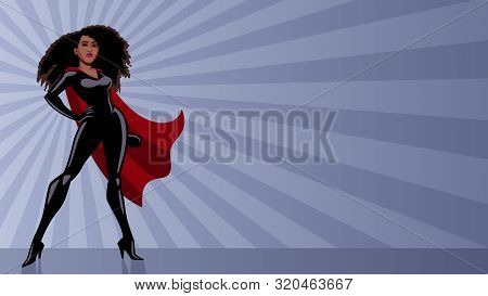 Full Length Illustration Of Determined And Powerful Black Superheroine Wearing Red Cape While Standi