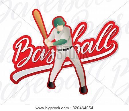A Baseball Player Swinging And Hitting. Vector Illustration