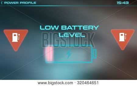 Battery Charging Interface For Car Computer Screen Showing Low Battery Level