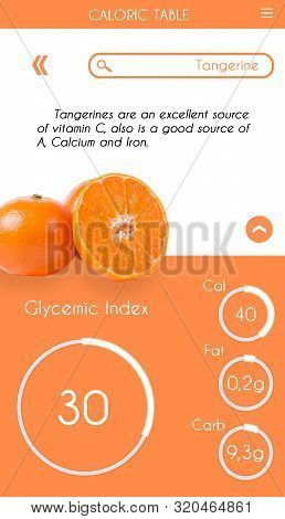 Graphics Of Glycemic Index Application For Smartphone Screen