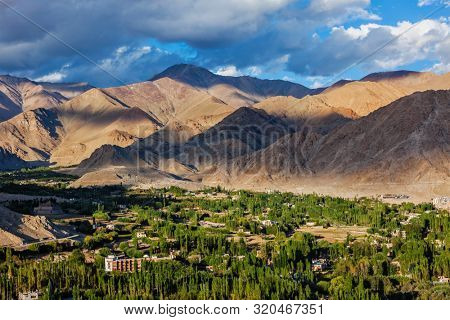 View of Leh from above from Shanti Stupa on sunset. Ladakh, Jammu and Kashmir, India