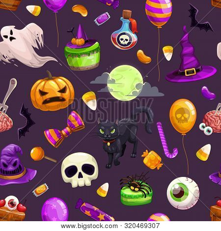 Seamless Pattern With Cartoon Halloween Attributes. Colorful Helloween Print With Scary Holiday Item