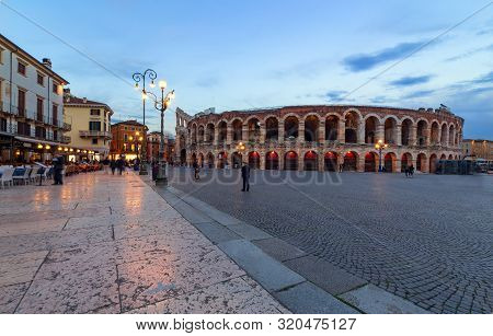 Verona Amphitheatre, The Third Largest In The World, At Dusk Time. Roman Arena In Verona, Italy