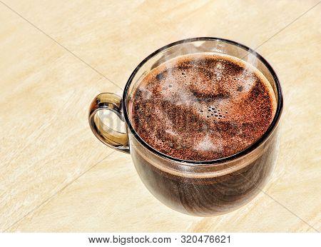 Hot Coffee In A Glass Cup Taken Ckoseup.