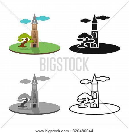 Vector Design Of Chapel And Vietnamese Sign. Collection Of Chapel And Cathedral Stock Vector Illustr