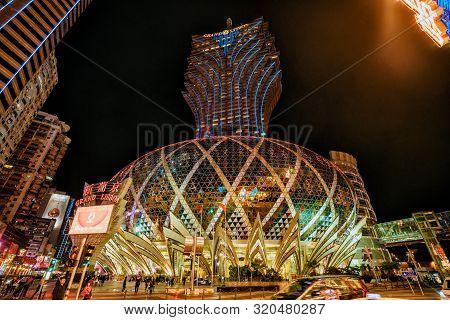 Macau, China - January 24, 2016. Grand Lisboa 5-star Hotel In Macau Which Is The Gambling Capital Of