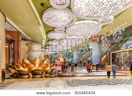 Macao, China - January 24, 2016: Grand Lisboa Hotel And Casino In Macau. Interior View Of The Entran